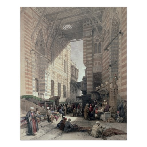 """Bazaar of the Silk Merchants, Cairo."" Louis Haghe"