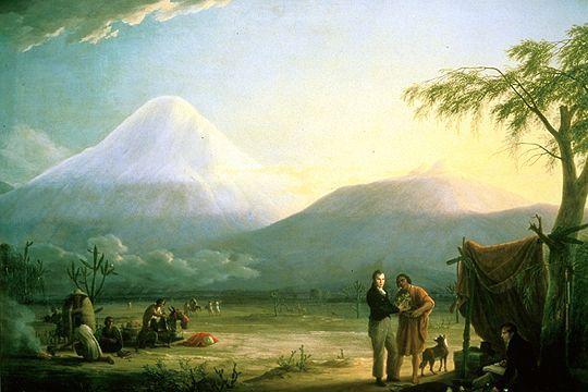 """""""Alexander von Humboldt and Aime Bonpland at the Foot of Chimborazo"""" Friedrech Georg Weitsch"""